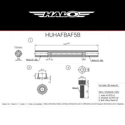 HUHAFBAF5B Axle Dimensions