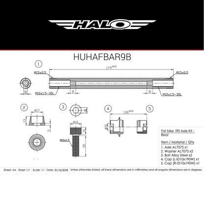 HUHAFBAR9B Axle Dimensions